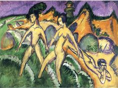 Kirchner. 'Man and Woman Striding into the Sea', 1912, Staatsgalerie Stuttgart.