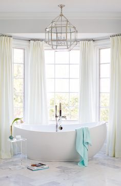 Custom Master Bathroom Design with Freestanding Tub Bath Architectural Detail Design Detail Architectural Details TraditionalNeoclassical Transitional by Kara Cox Interiors Bathroom Window Curtains, Bathroom Window Treatments, Bathroom Windows, Bay Window Dressing, Sweet Home, Home And Deco, Bathroom Flooring, Amazing Bathrooms, Decoration