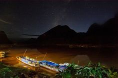 Quiet night on the river Star Night, Long Exposure, Backpacker, World Traveler, Southeast Asia, Laos, Northern Lights, River, Photo And Video
