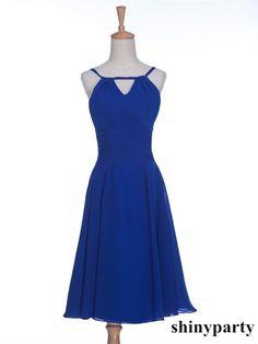 Round Neck Short Blue Prom Dresses, Short Bridesmaid Dresses #shinyparty #prom #dress #formal #blue #short #roundneck #promdress #shortdress #bridesmaid #bridesmaiddress #dresses