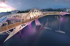 Rival designs unveiled for a new pedestrian and cycle bridge in London that would stretch over the Thames between Nine Elms and Pimlico Bridges Architecture, Architecture Panel, Concept Architecture, Architecture Design, Amphitheater Architecture, Futuristic City, Futuristic Architecture, Bridge Structure, Arch Bridge