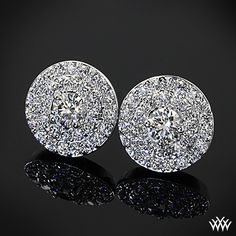 18k White Gold Brilliance Double Halo Diamond Earrings