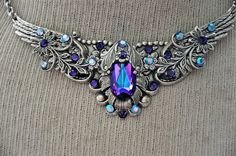 Victorian Style Choker, Swarovski Crystal HELIOTROPENecklace,Antique Silver,Vintage Style Choker,Victorian Gothic Jewelry,BELLINI