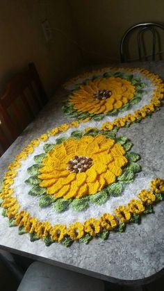 caminho de mesa girassol croche