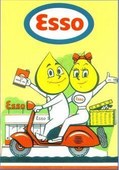 awesome Esso Vespa Postcard