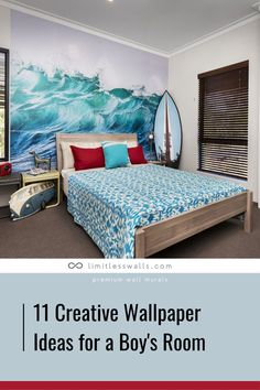 Take your child's bedroom to a whole new level with some of these creative boy's room wallpaper ideas! Tap to read more. | Limitless Wall - Premium Wall Murals Room Wallpaper Designs, Boys Room Wallpaper, Wallpaper Ideas, Designer Wallpaper, White And Gold Wallpaper, Childrens Wall Murals, Kids Bedroom, Bedroom Decor, Removable Wall Murals