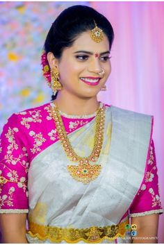 Wedding spring makeup bridal collection new Ideas Wedding Saree Blouse Designs, Pattu Saree Blouse Designs, Silk Saree Blouse Designs, Saree Blouse Patterns, Wedding Saree Collection, Bridal Collection, Amazing, Awesome, Gold Jewellery
