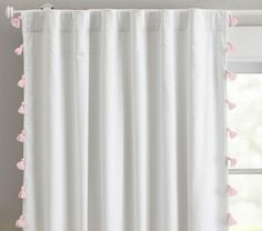 blackout drapes with shell pink tassel - pottery barn kids (bella tassel panel) Blackout Panels, Drapes And Blinds, Window Drapes, Window Panels, Tassel Curtains, Pink Curtains, Nursery Curtains, Nursery Room, Sons