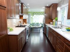Update your galley style kitchen to improve functionality and traffic flow with these ideas from HGTV.
