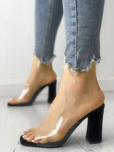 494184d3509 Transparent Single Strap Chunky Heeled Sandals  shoesheelschunky Shoes  Flats Sandals
