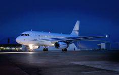 Download wallpapers Airbus 319 Corporate Jet, 4k, passenger plane, night, airliner, airport, Airbus