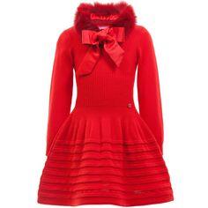 ValMax Knitted Red Wool Dress & Detachable Fur Collar at Childrensalon.com