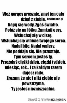 złote myśli Swimming Motivation, Life Motivation, Motivational Words, Inspirational Quotes, Sad Quotes, Life Quotes, Saving Quotes, Haha, Pin On