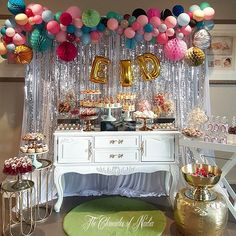 My Eid dessert and lolly table Props, backdrop and jelly pots with choc coated pretzels @the_chroniclesofnadia Balloon installation @boutique_balloons_melbourne Dessert Knafe and Muhalabeye pots @cdlcpatisserie Eid dessert mamoul @balhaspastry Choc oreo pyramids @chocobonau Nutella donuts @micks_place #thechroniclesofnadia #eventstyling #eventplanning #propshire #melbournebased #eidmubarak #eidelfitr2016 #desserttable