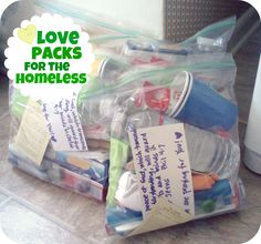 LOVE this idea!! Goody Bags for the homeless! Instead of handing them money that could be used for drugs
