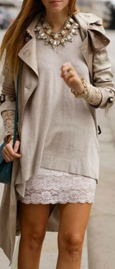 Loveee this look although it's one solid color; the different textures make this work !!