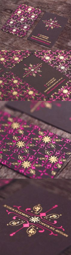 Beautiful Patterned Hot Foil Stamped Business Cards For A Chocolatier