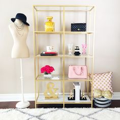 DIY Ikea Hack: Gold and Marble Shelves  // Details here: http://www.stylishpetite.com/2015/03/diy-gold-and-marble-shelves.html