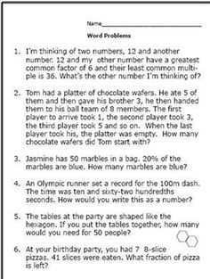 math worksheet : here are some math word problems perfect for 6th graders  math  : Sixth Grade Math Problems