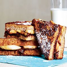 Banana-Chocolate French Toast by Cooking Light. This breakfast-for-dinner recipe of Banana-Chocolate French Toast is great for a topsy-turvery meal that kids will love. High Fiber Breakfast, Breakfast Desayunos, Breakfast Dishes, Healthy Breakfast Recipes, Healthy Breakfasts, Breakfast Smoothies, Eating Healthy, Healthy Snacks, Clean Eating