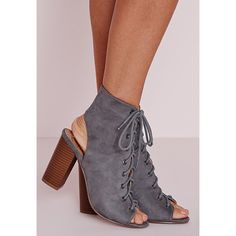Missguided Lace Up Heeled Boots ($60) ❤ liked on Polyvore featuring shoes, boots, ankle booties, grey, lace up peep toe booties, faux suede lace-up booties, lace up high heel boots, grey booties and lace up wooden heel booties