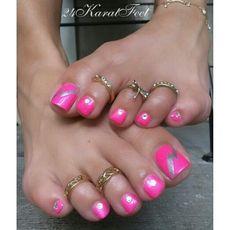 Nice toenails and toe rings