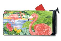 Magnet Works MailWraps Mailbox Cover - Flamingo Pair Design Magnetic Mail at GardenHouseFlags