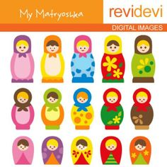My Matryoshka Clipart 07016 - Digital Images - Cute Russian nesting dolls mother daughter clip arts