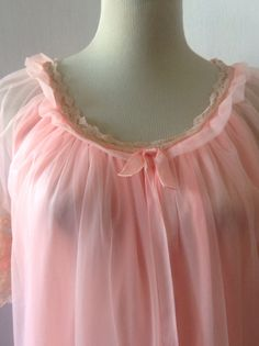 60s Peignoir Gown / Vintage Peach Nightgown / 2 by houseoflemoore, $28.00