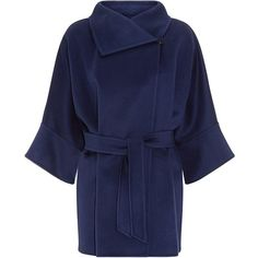 MaxMara Urta Cashmere Cocoon Coat ($2,505) ❤ liked on Polyvore featuring outerwear, coats, jackets, coats & jackets, casacos, oversized coat, cashmere coats, double faced cashmere coat, reversible coat and blue coat