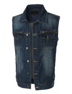 LE3NO Mens Vintage Button Down Denim Jean Vest with Pockets