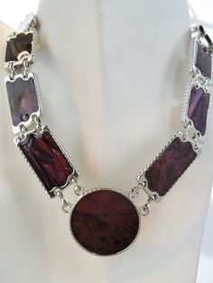 Vintage Purple Enamel Collar Necklace Shell Inspired by KathiJanes