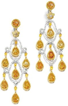 PAIR OF GEM-SET AND DIAMOND EAR PENDANTS, MICHAEL YOUSSOUFIAN. Each of articulated chandelier design set with pear-shaped, oval and circular faceted yellow and orange sapphires, accented with princess- and brilliant-cut diamonds of yellow and near-colourless tints.