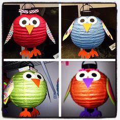 Owl craft ... Arts and crafts ... Fun to make owl paper lanterns!! And really easy too!!  You could do lots of animals this way. Or holiday crafts like jack o lanterns and Xmas ornaments too!