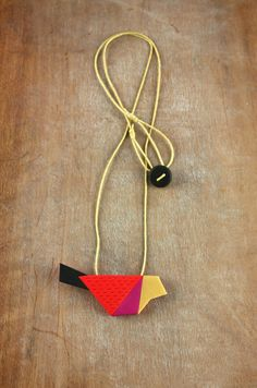 Colorful bird necklace geometric animal by debroervandevogel
