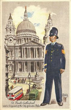 An early 1950s illustration by Helen McKie showing St. Paul's Cathedral and a City of London Police Sergeant.