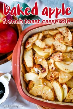 This baked apple French toast casserole is an easy to make breakfast casserole for holiday breakfast or brunch. Made with bread, Egg Beaters, milk & apples. Easy To Make Breakfast, Make Ahead Breakfast Casserole, Fall Breakfast, Apple French Toast, French Toast Bake, French Toast Casserole, Thanksgiving Food Crafts, Holiday Crafts, Holiday Ideas