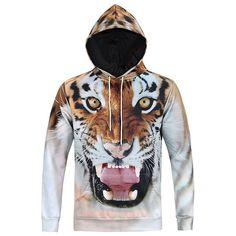 Tiger Head Printing Hooded Sweatshirt-L6026