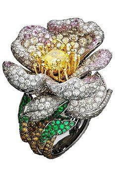 Giampiero Bodino ring with white, grey, yellow, and cognac diamonds, pink sapphires, and emeralds