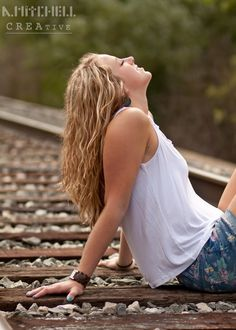 Female #Portrait -- Sun On the Train #Tracks