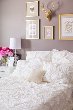 Bedroom reveal: white rivulets bedding, gold frames and pink peonies on nighstand