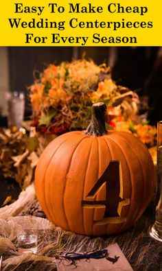 Simple Do-It-Yourself Cheap Wedding Centerpieces Ideas Fall Wedding Centerpieces, Pumpkin Centerpieces, Flower Centerpieces, Centerpiece Ideas, Pumkin Decoration, Pumpkin Wedding Decorations, Wedding Arrangements, Fall Pumpkin Wedding, Wedding Pumpkins