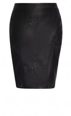 Fitting & flattering, the Embroidered Pleather Skirt is a hot must-have style. Key Features Include: - Invisible back zip closure - Pencil silhouette - Knee length hemline with back acute split - Fitted waistband - Darts for shaping - Embroidered Plus Size Fashion For Women, Plus Size Women, Plus Fashion, Womens Fashion, Viking Clothing, Tube Skirt, Free Online Shopping, City Chic, Skirts