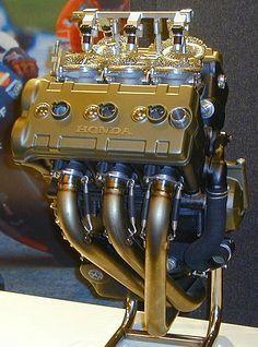 Honda V5 Moto GP Engine (cropped). Motorcycle Engine, Car Engine, Vintage Motorcycles, Custom Motorcycles, Concept Motorcycles, Course Moto, Engineering Works, Honda Bikes, Performance Engines