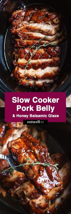 Slow Cooker Pork Belly with Honey Balsamic Glaze - Fall-apart tender and infused with a sticky tangy glaze. : Slow Cooker Pork Belly with Honey Balsamic Glaze - Fall-apart tender and infused with a sticky tangy glaze. Slow Cooker Pork Belly, Crock Pot Slow Cooker, Slow Cooker Recipes, Cooking Recipes, Crock Pots, Crockpot Meat, Slow Cooked Pork, Slow Cooker Dinners, Slow Roast Pork