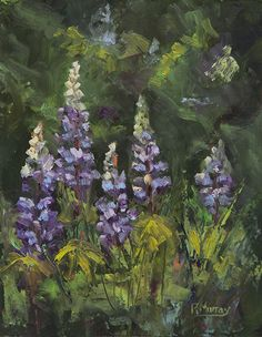 Garden Lupines by Roberta Murray Oil ~ 10 x 8