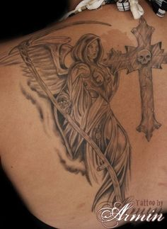 Angel Of Death Girl Tattoo Angel of death portrayed as a