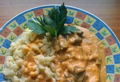 Bakonyi csirkemell Risotto, Oatmeal, Curry, Food And Drink, Meat, Chicken, Dinner, Baking, Breakfast