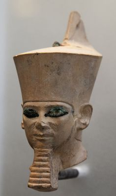 Fragment of a statue of Chefren (Khafre) with the red crown. From Giza, Valley-temple of Chefren. Dynasty 4. Egyptian Museum of the University of Leipzig.