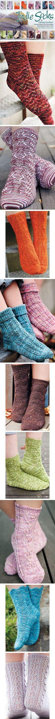"""Indie Socks: If you love hand-dyed yarns but don't always know what to knit with them and want to learn about independent yarn dyers--this is the book for you! """"Indie Knits"""" takes you behind the scenes with profiles of 25 talented indie dyers written by Donna Arney, accompanied by designs from sock master Chrissy Gardiner featuring a yarn from each dyer. Chrissy also includes tips and tricks for working with challenging colorways and selecting the best pattern to go with your chosen yarn."""